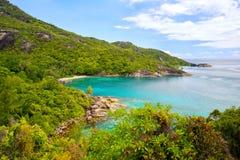 Frånt Seychellerna naturligt landskap Arkivfoto