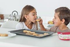 Frère donnant un biscuit à sa soeur images stock