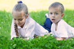 Frère heureux et soeur détendant sur l'herbe Photo libre de droits