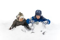 Frères dans la neige Photographie stock