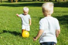 Frères doux jouant les jeux actifs dans le jardin photographie stock libre de droits
