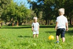 Frères mignons jouant des jeux dans le jardin photos libres de droits