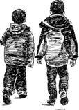Frères sur une promenade Image libre de droits