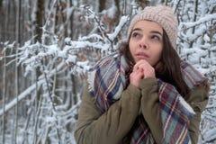 Frío alegre del modelo de la belleza en parque del invierno Naturaleza femenina joven hermosa, disfrutando de la naturaleza imagenes de archivo