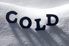 Frío azul de la palabra en nieve Imagen de archivo libre de regalías