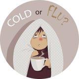 ¿Frío común o gripe? Fotos de archivo