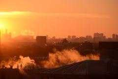Frío de febrero del horizonte de Etobicoke de la puesta del sol Fotos de archivo