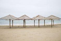 Frío en la playa del invierno 2014 Foto de archivo libre de regalías