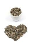 Frö för solroshjärtaform i kopp med vit bakgrund Royaltyfri Fotografi
