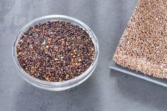 Frö och energistång av den svarta quinoaen - chenopodium - quinoa royaltyfri foto