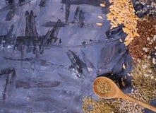 frö och kryddor på tabellen Arkivfoton