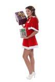 Fröcken Santa med gåvor Arkivfoto