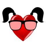 Fröckenhjärta Färgrikt tecken som personifierar en kvinna i hipsterexponeringsglas Royaltyfri Fotografi