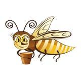 Fröhliche Biene mit einer Wanne Honig Lizenzfreie Stockfotografie