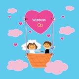Fröhliche Hochzeit von zwei Liebhabern im Himmel Flug in einem Heißluftballon stock abbildung