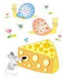 Fröhliche Maus mit Käse Lizenzfreies Stockfoto