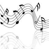 Fröhliche musikalische Anmerkungen mit einer netten Reflexion Stockbild