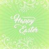 Fröhliche Ostern auf dem grünen Hintergrund lizenzfreies stockfoto