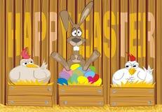 Fröhliche Ostern - gemalte Eier im Henhouse Stockbild