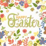 Fröhliche Ostern Handbeschriftungskarte mit Blumenhintergrund Vecto Lizenzfreies Stockbild