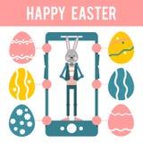 Fröhliche Ostern Infographics-Karikaturkaninchen mit verschiedenen Eiern vektor abbildung