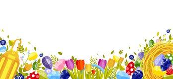 Fröhliche Ostern lokalisierten farbige Eier, Frühlingsdekoration, Urlaub, Tulpenblumengestaltungselement in der flachen Art Stockfotos