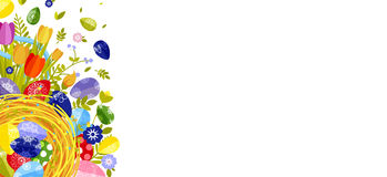 Fröhliche Ostern lokalisierten farbige Eier, Frühlingsdekoration, Urlaub, Tulpenblumengestaltungselement in der flachen Art Lizenzfreie Stockfotografie