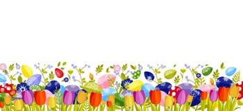 Fröhliche Ostern lokalisierten farbige Eier, Frühlingsdekoration, Urlaub, Tulpenblumengestaltungselement in der flachen Art Lizenzfreies Stockbild
