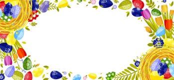 Fröhliche Ostern lokalisierten farbige Eier, Frühlingsdekoration, Urlaub, Tulpenblumengestaltungselement in der flachen Art Lizenzfreie Stockfotos