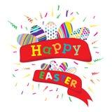 Fröhliche Ostern mit buntem Ei auf weißem Hintergrund Vektor fröhliche Ostern auf Parteihintergrund Lizenzfreie Stockfotos