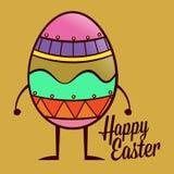 Fröhliche Ostern mit buntem Ei-Charakter Stockbilder