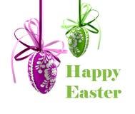 Fröhliche Ostern mit farbiger Eiillustration stockbild