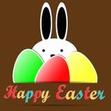 Fröhliche Ostern mit Kaninchen, Text und Ostereiern, Hintergrund, Vektor Stockfotos