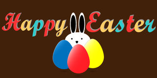 Fröhliche Ostern mit Kaninchen und Ostereiern, flaches Karikaturdesign Stockfotos