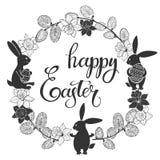 Fröhliche Ostern Runder Rahmen mit netten Osterhasen, Narzissen und den Weidenzweigen Dekoratives Motiv mit Blumen und Vögeln Stockbild