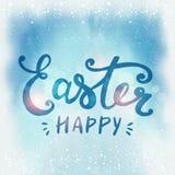 Fröhliche Ostern typografisch und Eier auf Feiertagshintergrund mit Licht und Sternen Stockfoto