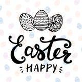 Fröhliche Ostern typografisch und Eier auf Feiertagshintergrund mit Licht und Sternen Stockfotografie