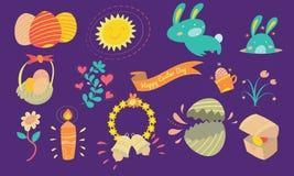 Fröhliche Ostern und dekorative Elemente mit nettem Häschen, Osterei Lizenzfreies Stockfoto