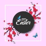 Fröhliche Ostern Vektorbeschriftung mit Kirschblütenblumen Lokalisiert auf rosa Hintergrund Glückliche Ostern-Phrase lizenzfreie abbildung