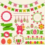Fröhliche Ostern! Vektorgestaltungselemente lizenzfreie abbildung