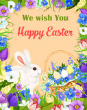 Fröhliche Ostern wünschen Grußkarten-Vektorhäschenei lizenzfreie abbildung