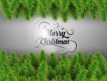 Fröhliche realistische grüne Niederlassungen des Weihnachtsbaums auf silbernem Hintergrund Auch im corel abgehobenen Betrag stock abbildung