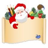 Fröhliche Santa Claus, die mit Weihnachtsgrußfahne im Arm steht Abbildung des Vektor EPS10 Lizenzfreies Stockbild