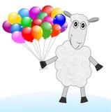 Fröhliche Schafe mit Luftmarmoren Stockbilder