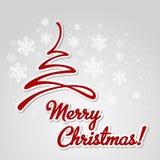 Fröhliche Weihnachtsbaum-Grußkarte Papierdesign Stockfoto