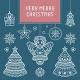 Fröhliche Weihnachtsbeschriftungszusammensetzung glückliches neues Jahr 2007 Stockbild