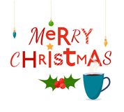 Fröhliche Weihnachtsbriefe mit Schale heißem Tee Lizenzfreie Stockfotos