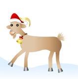 Fröhliche Ziege in einer Weihnachtskappe Stockfotos