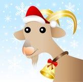 Fröhliche Ziege in einer Weihnachtskappe Lizenzfreie Stockbilder