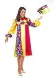Fröhlicher Clown mit Hut Stockfotografie